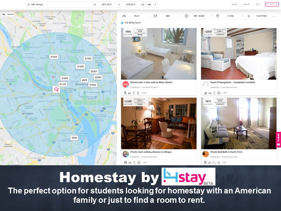 English students at inlingua can use our accommodation partner 4stay to find excellent homestay families or a room to rent while they study English
