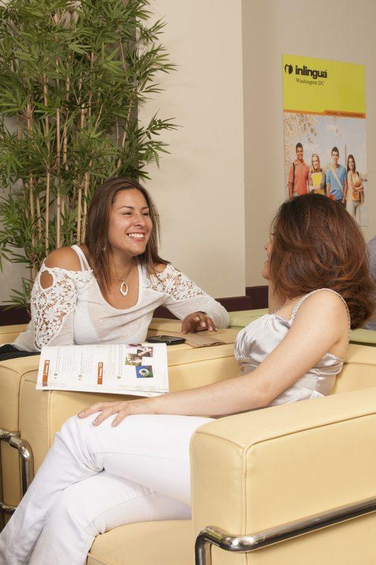 ESL Students at Inlingua English School Lounge