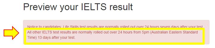 IELTS Results are released 13 days after the exam over a 24-hour period